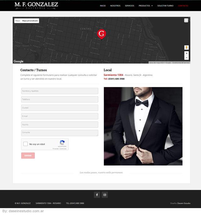 Diseño web Rosario - Sastrería Vestidos y Trajes para novios - Sección: Turnos