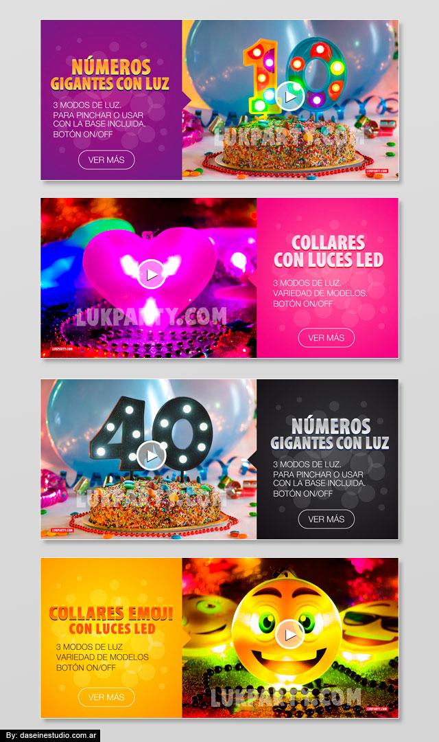 Diseño banners web fullHD - Cotillón mayorista - Collares con luz led y Números gigantes
