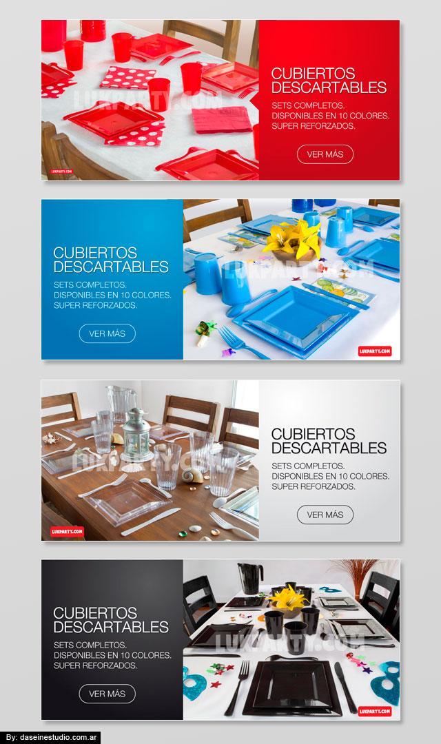 Diseño banners web fullHD Cotillón Mayorista - Set cubiertos descartables en colores