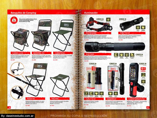 Diseño catálogo de productos Camping, iluminacion linternas