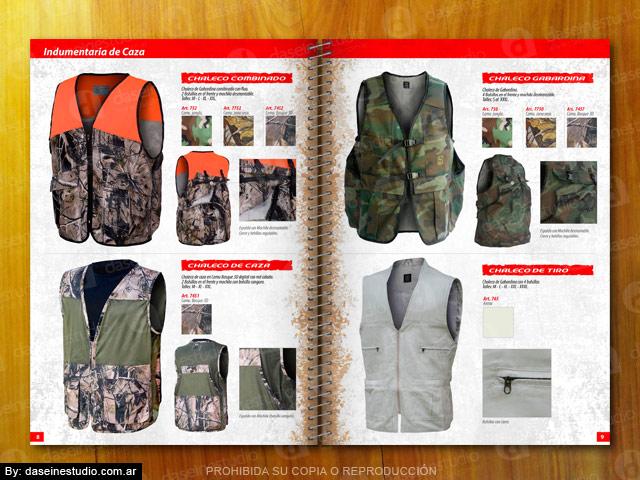 Diseño catalogo de productos - Chalecos de caza camuflados