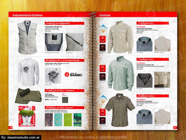 Diseño catalogo de productos - Indumentaria outdoor: Camisas y chalecos