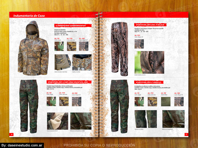 Diseño catalogo de productos - Pantalones y Campera de caza camuflados
