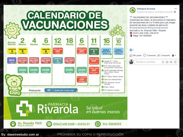 Farmacia: Diseño de placas para redes sociales - CALENDARIO VACUNACIÓN