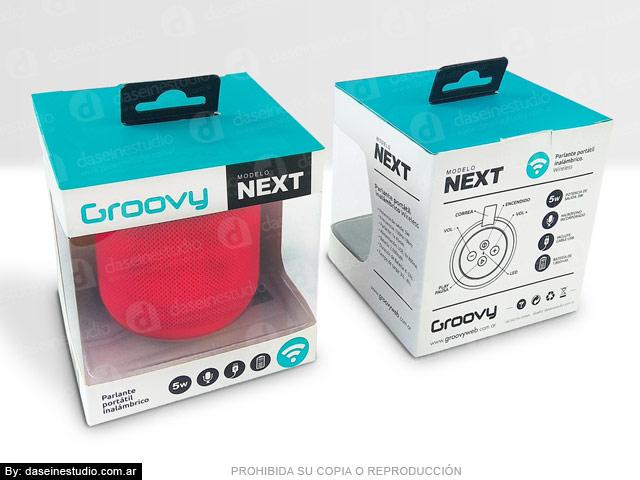 Packaging Parlante Modelo NETX - Frente y dorso