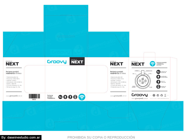Packaging Parlante Modelo NETX - Toquel desarmado