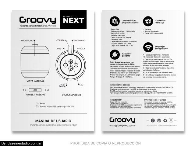 Packaging Parlante Modelo NETX - Diseño de Manual de Usuario