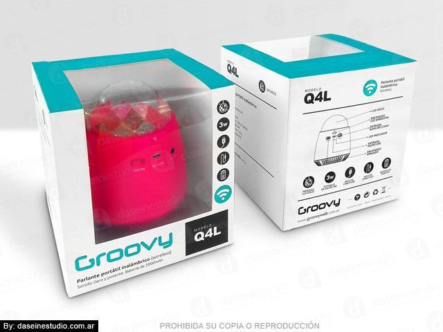 Packaging Parlante Modelo Q4L - Frente y dorso