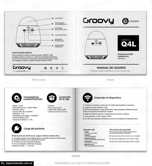 Packaging Parlante Modelo Q4L - Diseño de Manual de Usuario