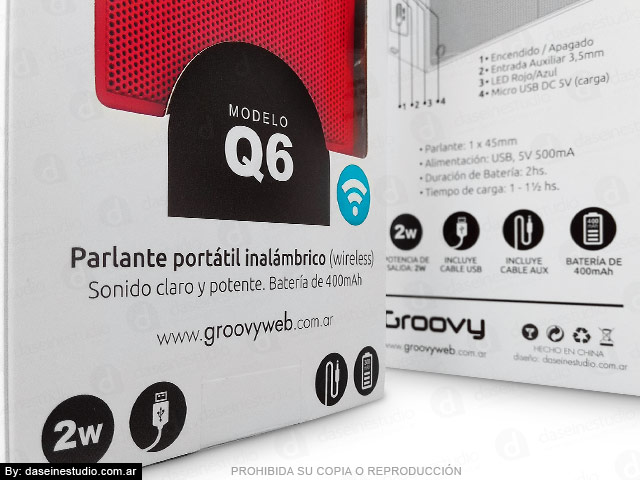Packaging Parlante Modelo Q6 - Detalle de diseño de envase