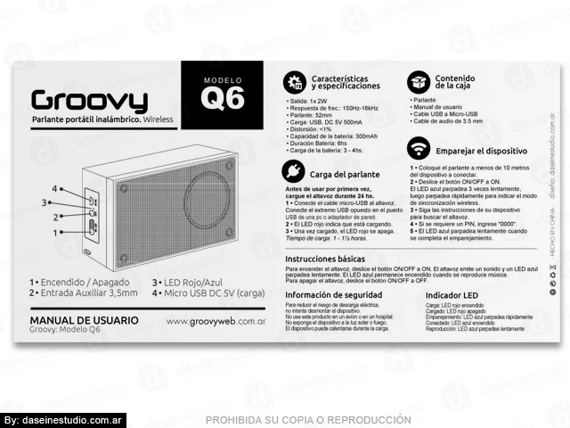 Packaging Parlante Modelo Q6 - Diseño de Manual de Usuario