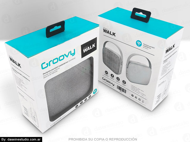 Packaging Parlante Modelo WALK - Frente y dorso