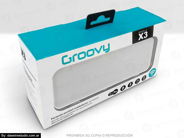 Packaging Parlante Modelo X3 - Frente y tapa