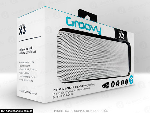 Packaging Parlante Modelo X3 - Frente pack