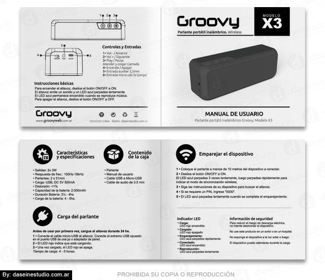 Packaging Parlante Modelo X3 - Diseño de Manual de Usuario