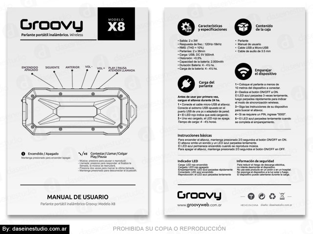 Packaging Parlante Modelo X8 - Diseño de Manual de Usuario