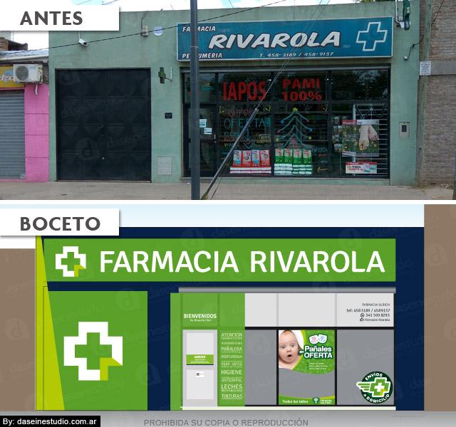 Diseño de Frente para Local Comercial: Farmacia Rivarola - Antes y Boceto