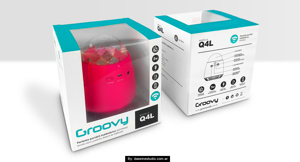 Diseño packaging Parlante Q4L