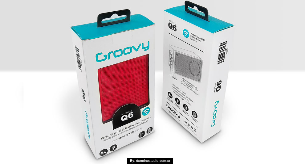 Diseño packaging Parlante Q6