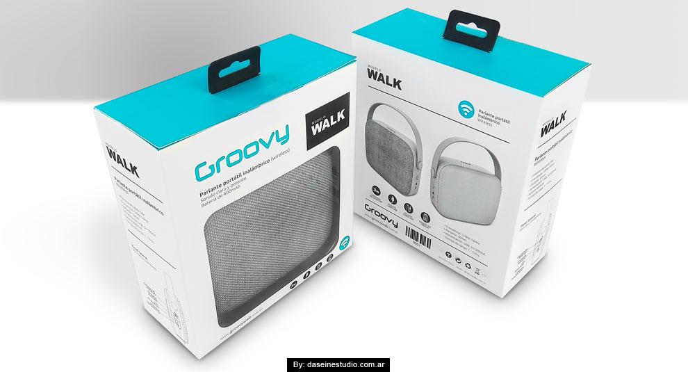 Diseño packaging Parlante Walk