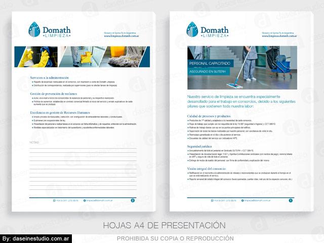 Diseño de logotipo Empresa de limpieza Argentina - Hojas A4 Presentación Institucional